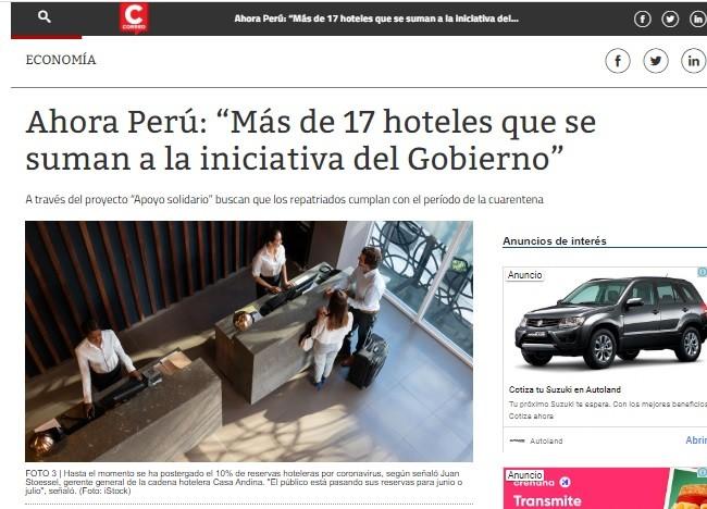 """Ahora Perú: """"Más de 17 Hoteles que se Suman a la Iniciativa del Gobierno"""" (Correo)"""