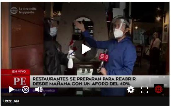 La Atención en Salón de los Restaurantes con Elementos de Bioseguridad (América Tv)