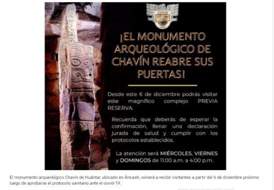 Monumento Arqueológico Chavín Volverá a Recibir Visitantes