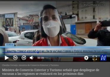 Claudia Cornejo: Primer Millón de Vacunas contra el COVID-19 Cubrirá a Personal de Salud