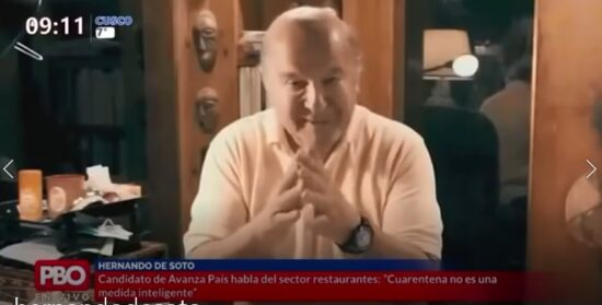 Candidato Presidencial Hernando De Soto se Muestra a Favor de Apertura de Restaurantes